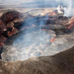 Watch this massive Hawaiian crater filled with lava collapse almost 400 feet