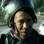 VIDEO: Motorcyclist finishes giving interview about crashes, drives away and immediately crashes