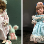 Porcelain dolls resembling young girls placed in front of their families' homes