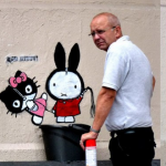 Graffiti removal guy comes back and finds he's been made into an art piece