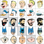 Here are 10 iconic cartoon characters drawn in the style of 10 iconic cartoonists