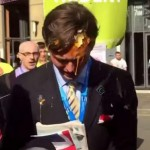 British right-winger taunts anti-austerity protesters, gets egged square in the forehead