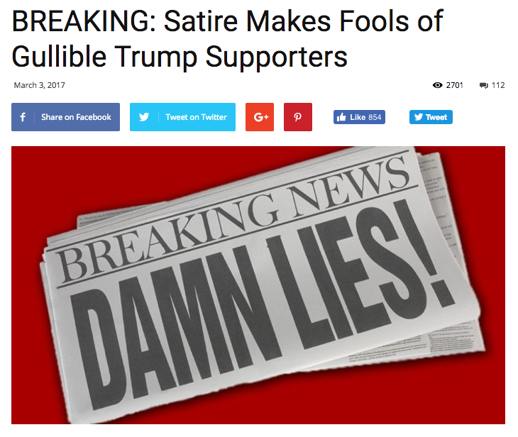 Fake News Site Thanks 'gullible Trump Supporters' After