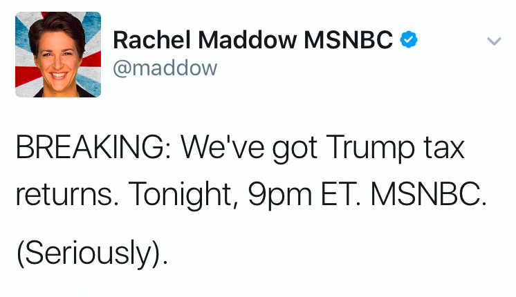 news rachel maddow claims have trumps returns