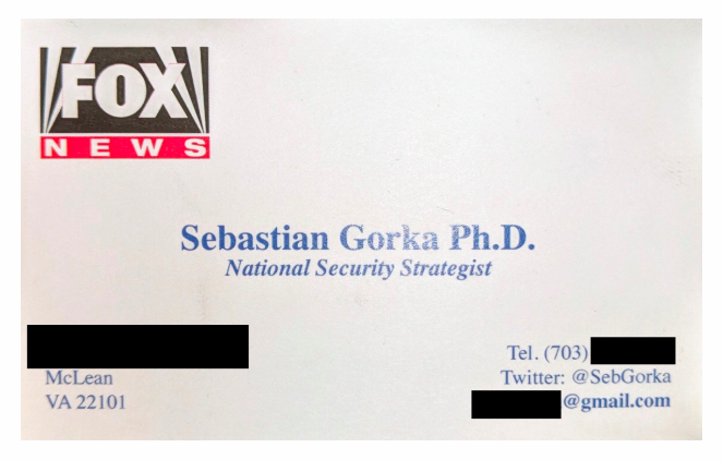 After being banned from Fox News shows, Sebastian Gorka hands out