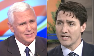 Mike Pence responded to Justin Trudeau's questions about US abortion bans with a lie.