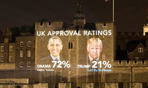 An activist group projected Obama's poll numbers next to Trump's on the Tower of London