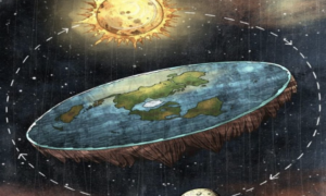 A painting of a flat earth