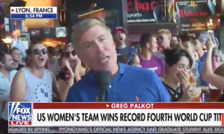 "Crowd chants ""F*** Trump"" during Fox News broadcast."
