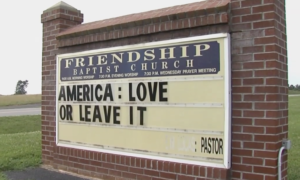 A congregation didn't appreciate a pastor's sign in front of their church.