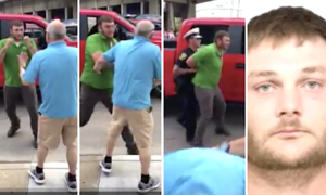 A man assaulted another man outside a Trump rally, and it didn't turn out well for him.